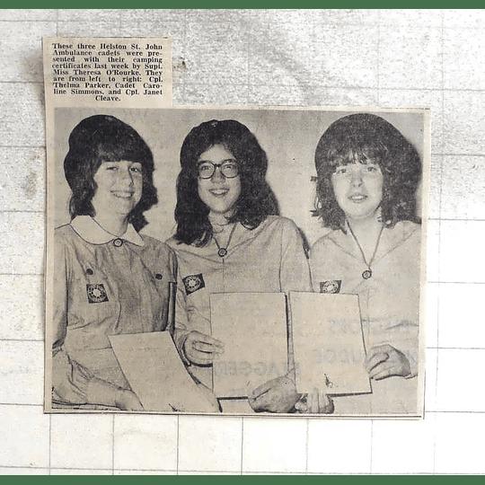 1974 Helston St John Ambulance Cadets, Thelma Parker, Caroline Simmons, Cleave
