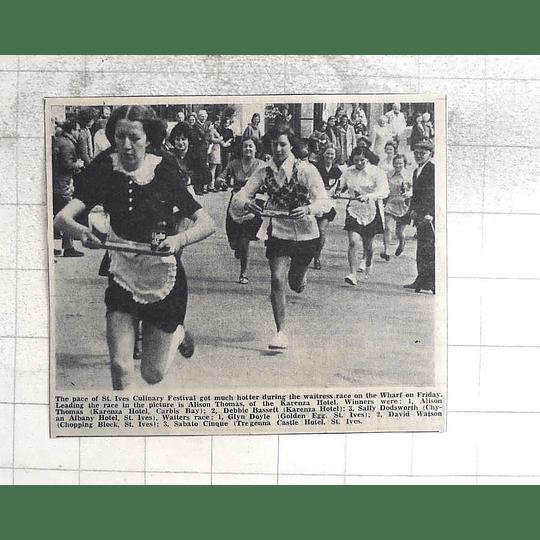 1974 Waitress Race St Ives Wharf, Alison Thomas, Karenza Hotel Debbie Bassett