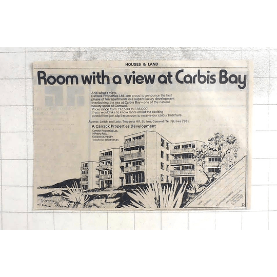 1974 Room With A View Carbis Bay Carrack Properties From £17,500