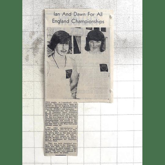 1974 Penzance School Athletics Ian Blewett, Dawn Madron