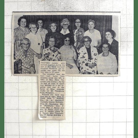 1974 Penzance Nurses Reunion, Hawksbee, Pankhurst, Blackburn, Hosking ,veale