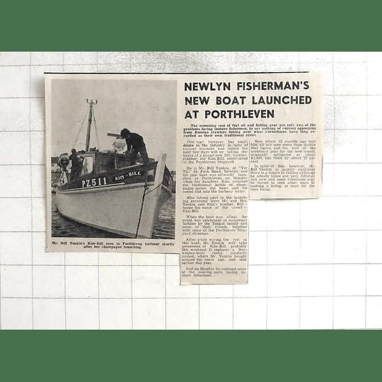 1974 Newlyn Bill Tonkin Launches New Boat Kim Bill Porthleven