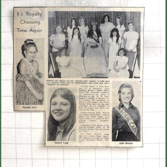 1974 Eleanor Lugg, Julie Warren, Camborne, Redruth's Richelle Uren