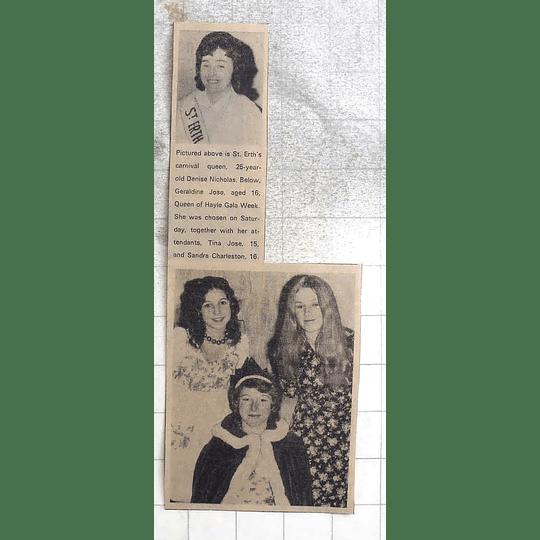 1974 St Erth Carnival Queen Denise Nicholas, Geraldine Jose, Sandra Charleston