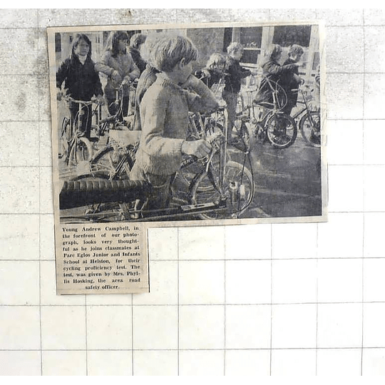 1974 Andrew Campbell Joins Classmates At Parc Eglos School Helston Cycling