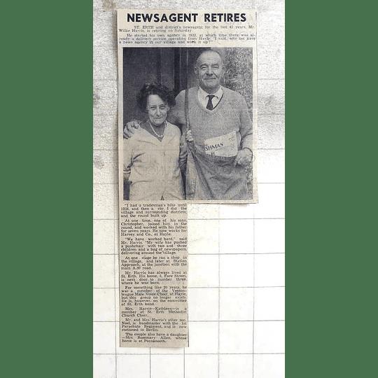 1974 St Erth And District Newsagent Willie Harris Retiring