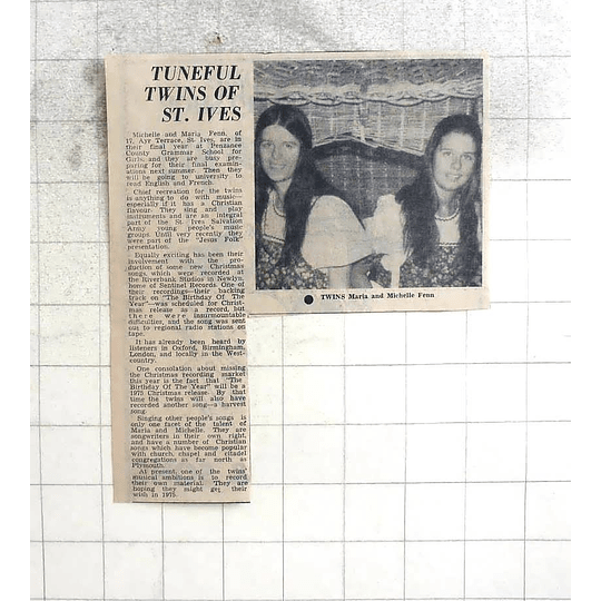 1974 Musical Christian Twins Maria And Michele Fenn, St Ives