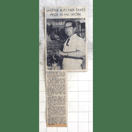 1974 Master Butcher Dennis Ashwood St Hilary Takes Pride In Work