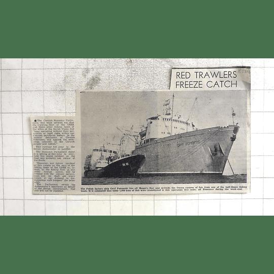 1974 Polish Factory Ship Gryf Pomorski Lies Off Mounts Bay, Frozen Fish