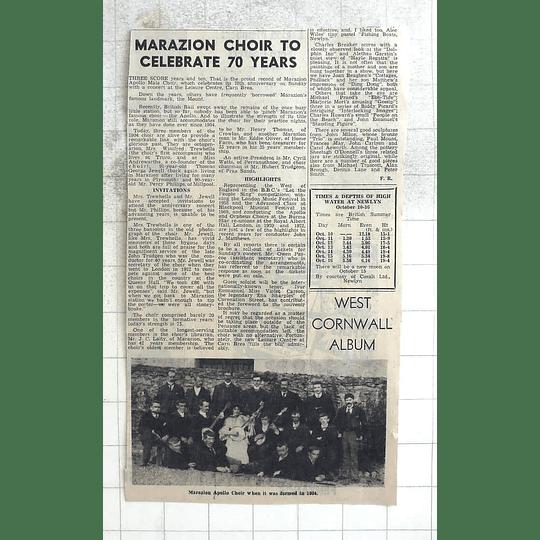 1974 Marazion Apollo Choir When It Was Formed 1904