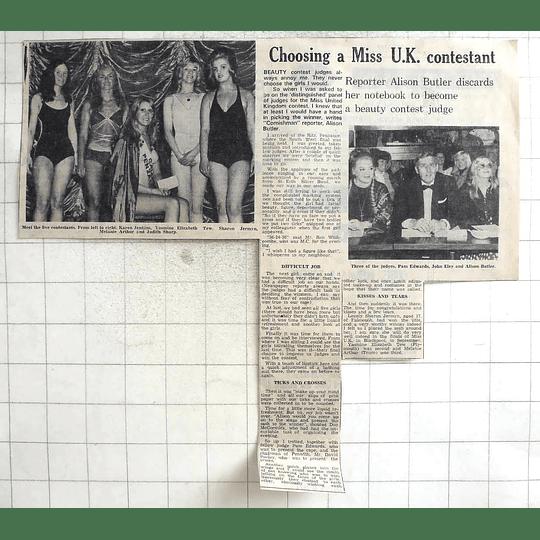 1974 Miss Uk Contestants, Penzance Yasmin Tew Sharon Jermyn Karen Jenkins
