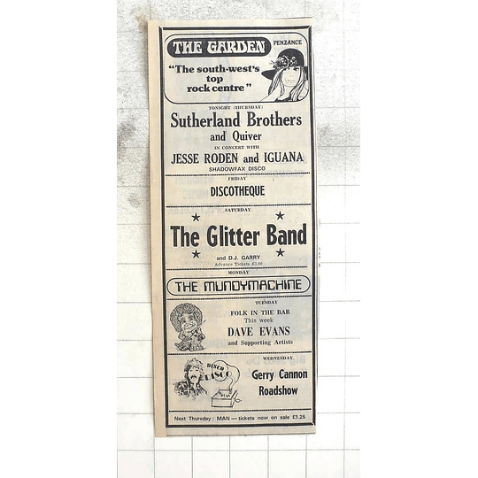 1974 Sutherland Brothers And Quiver, Glitter Band At The Garden Penzance