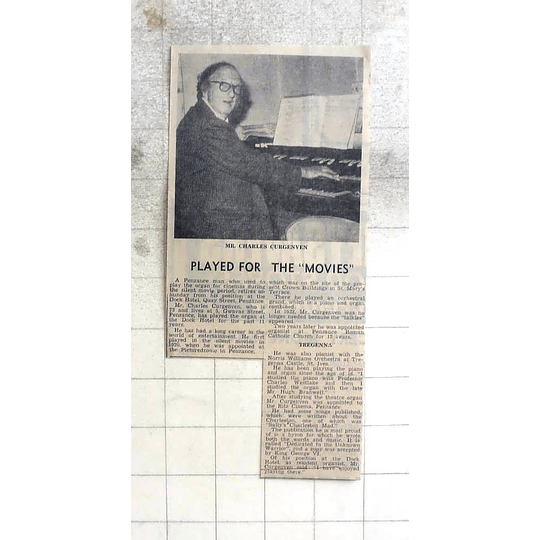 1974 Penzance Man Charles Curgenven Played Organ For Silent Movies