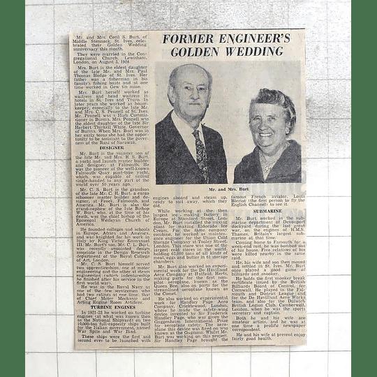 1974 Former Engineers Golden Wedding, Cecil Burt, St Ives