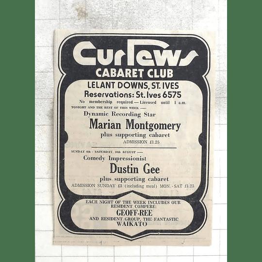 1974 Curlews Cabaret Club Marian Montgomery, Dustin Gee