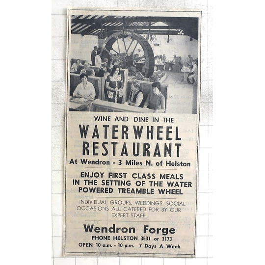 1974 The Waterwheel Restaurant At Wendron Forge First-class Meals