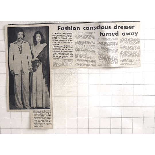 1974 Anthony Cottrell Turned Away From Barn Club Penzance Over Dress Standard