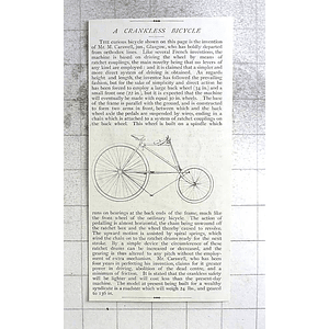 1897 Curious Crankless Bicycle Invented By M Carswell Glasgow