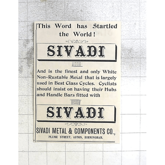 1897 Sivadi Metal And Components Plume Street Aston Birmingham