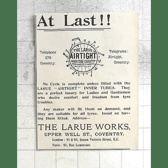 1897 Larue Airtight Inner Tube Coventry Upper Well Street
