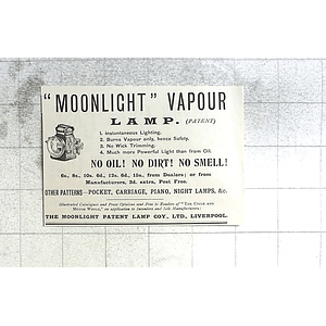 1897 The Moonlight Patented Lamp Company Liverpool