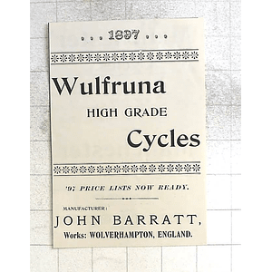 1897 John Barratt Wolverhampton England Wulfruna High-Grade Cycles