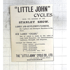 1897 Littlejohn Cycle Company Jw Kendrick Nottingham