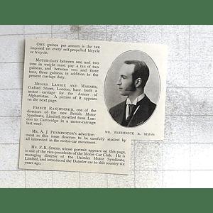 1897 Motorcar Club Vice President Frederick Simms