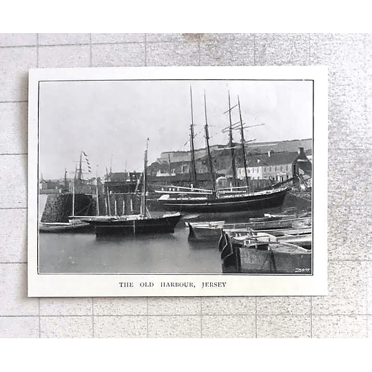 1897 Old Sailing Boats Harbour Jersey