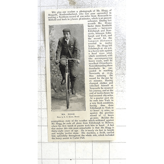 1897 Mr Hogg Of Morpeth Northumberland Cycling Record