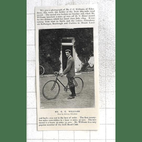 1897 Edenderry, Cc Williams Holds Irish 50 Mile Road Record