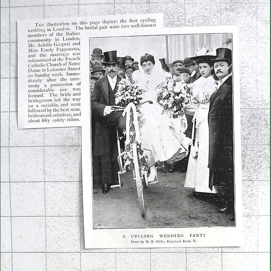 1897 First Cycling Wedding In London Italian Community Gasperi Pappacena