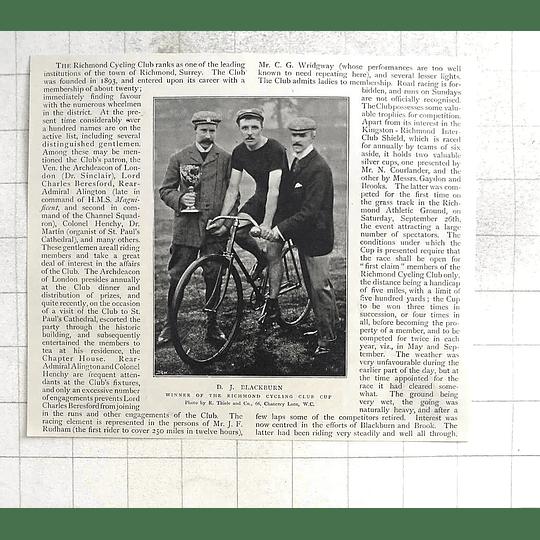 1897 Dj Blackburn Win Of The Richmond Cycling Club Cup, Surrey