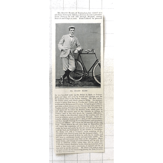 1897 Mr Stacey Blake, Nottingham, Rides Antwerp To Athens On Cripps Cycle