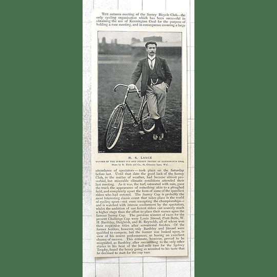 1897 Hs Large, Wins Surrey Cup Sydney Trophy Kennington Oval