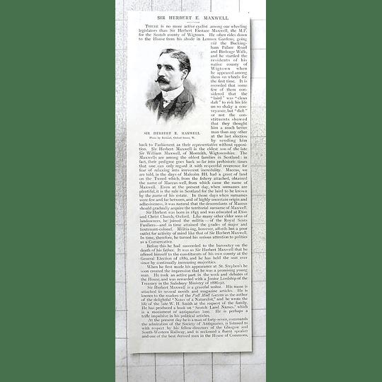 1897 Sir Herbert E Maxwell Mp Wigtown, Enthusiastic Cyclist