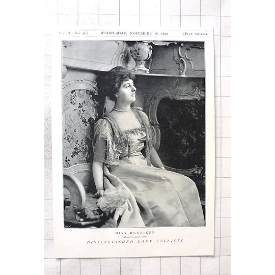 1897 Distinguished Lady Cyclist, Miss Henniker