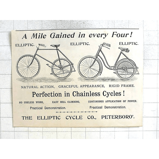 1897 Perfection In Chainless Cycles, Elliptic Cycle Company Peterborough