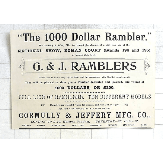 1897 The Thousand Dollar Rambler, Gormully And Jeffrey, London Coventry