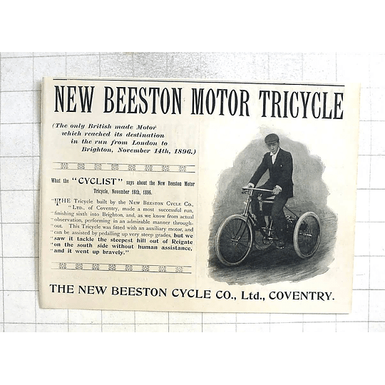 1897 The New Beeston Motor Tricycle, Did London To Brighton
