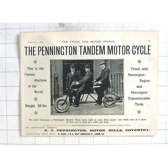 1897 The Pennington Tandem Motorcycle, Motor Mills Coventry