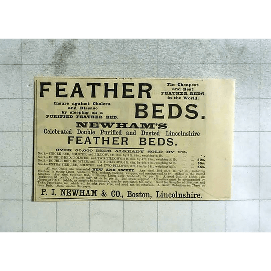 1893 Pi Newham And Co-boston Lincolnshire Feather Beds, New And Sweet