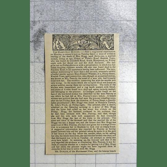 1890 The Hampstead Murder Of Mrs Hogg, Mary Wheeler, Kentish Town