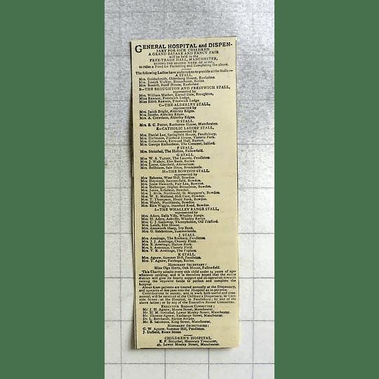 1875 Children's Hospital Dispensary Manchester Fancy Fair Charity Stalls List