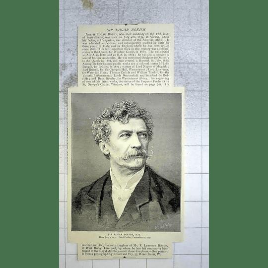 1890 Sir Edgar Boehm, Dies Suddenly Heart Disease