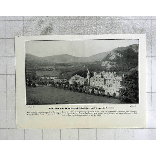 1905 Craig Y Nos Madame Pattis Welsh Palace In The Market