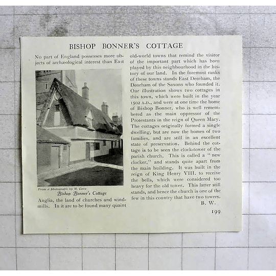 1908 Bishop Bonners Cottage In East Anglia