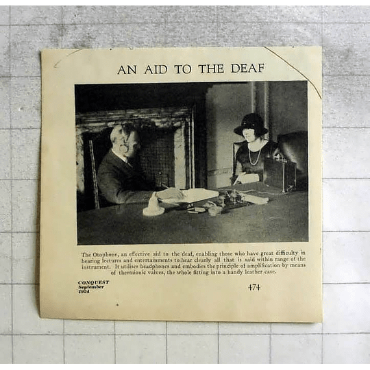 1924 The Otophone And Effective Aid To The Deaf