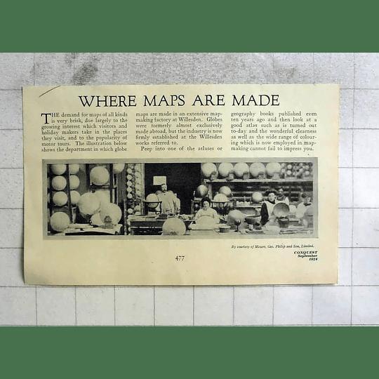 1924 Inside A Globe, Map Factory At Willesden