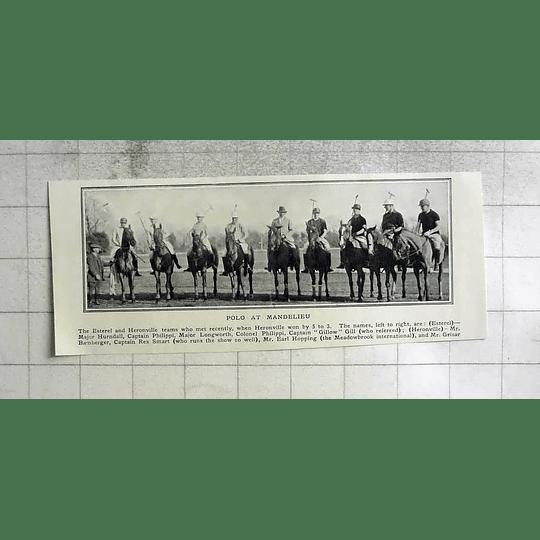 1922 Polo At Mandelieu Estherel And Heronville Teams